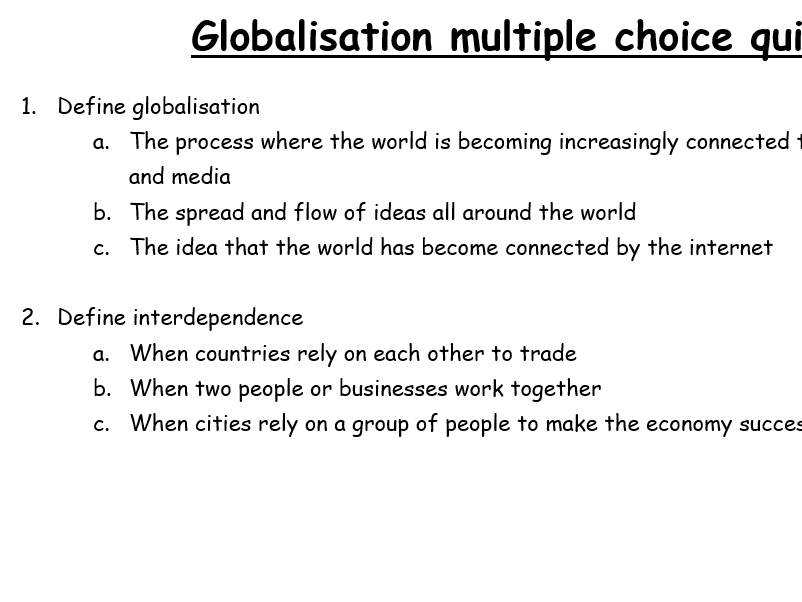 Eduqas Geography B Globalisation: multiple choice quiz