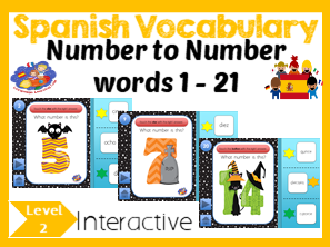 Spanish Numbers 1 - 21 - No Print Interactive Halloween Game