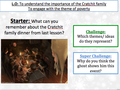 Christmas Carol Stave 3 - Understand the importance of the Cratchit family and the theme of poverty