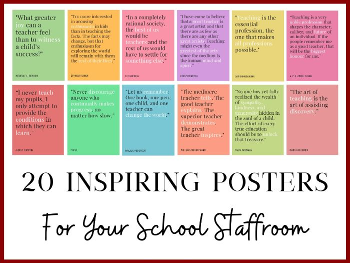 20 School Staffroom Posters - Great Quotes for Staff Bulletin Boards