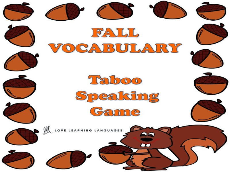 Fall - Autumn Taboo Speaking Game in English