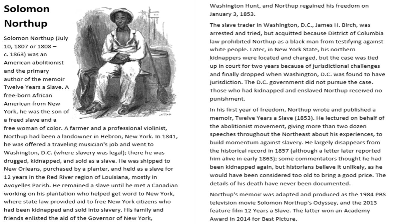 Solomon Northup - 12 Years A Slave Activity Pack