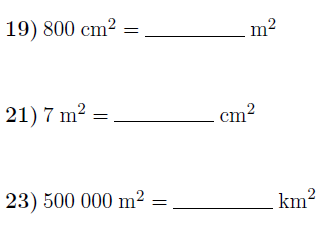 Converting metric units of area worksheets (with answers)
