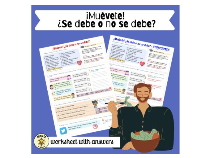 ¡Muévete! Se debe/no se debe. Una vida sana. Spanish Healthy living. Worksheet with answers