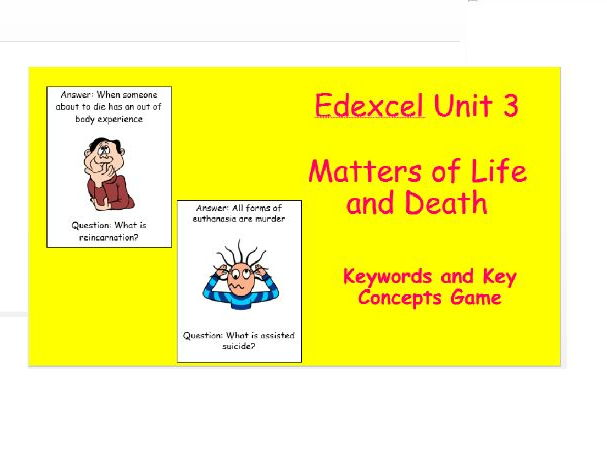 Edexcel Christianity Matters of Life and Death Keywords and Key Concepts Game