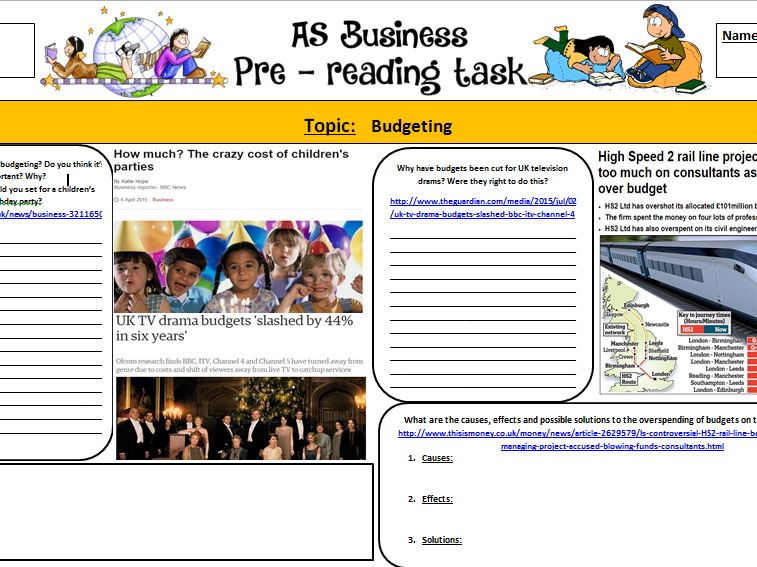 New A-Level: Pre-reading sheet - Budgets and Budgeting