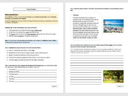 Personification Worksheet for KS3 and KS4