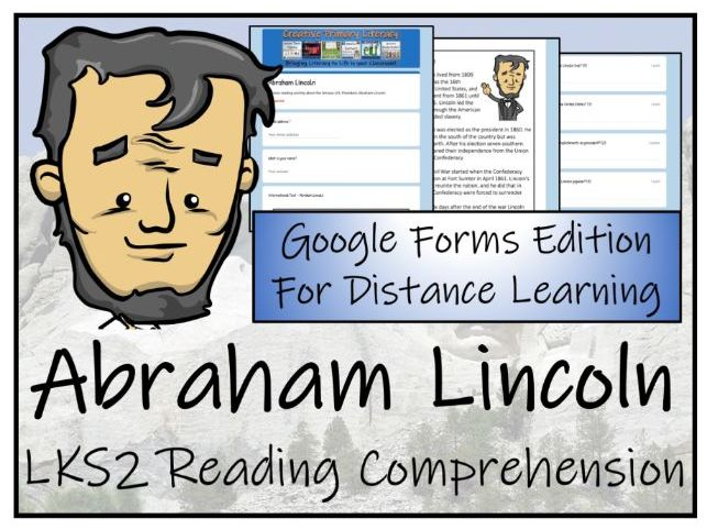 LKS2 Abraham Lincoln Reading Comprehension & Distance Learning Activity