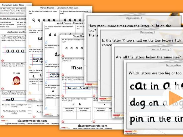 Grammar Year 1 Consistent Letter Sizes Autumn Block 1 Step 5 Lesson Pack