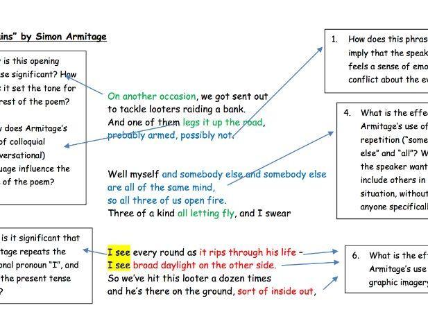 "GCSE Poetry Anthology: ""Remains"" Analysis Task"