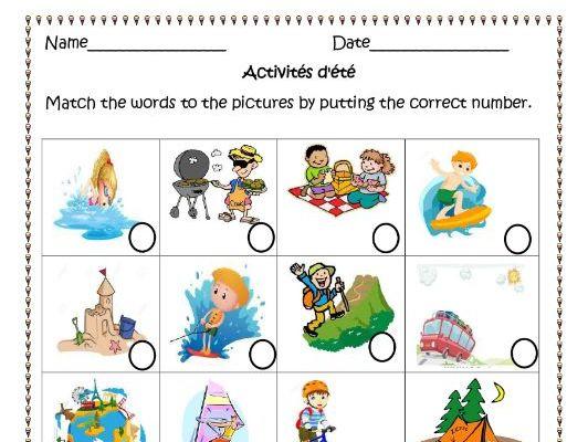 Activités d'été (Summer French Activities) Distance Learning Worksheets.