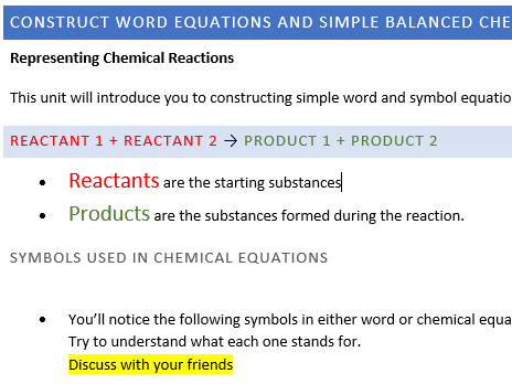IGCSE CHEMISTRY: CONSTRUCT WORD EQUATIONS AND SIMPLE BALANCED CHEMICAL EQUATIONS.