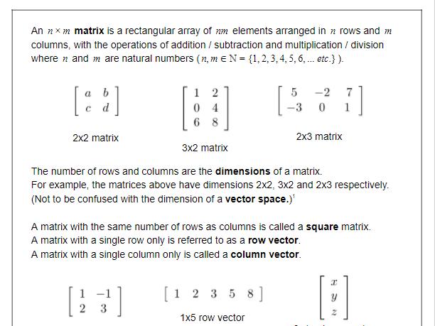 Matrices - Basics