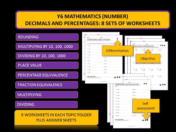 Y6 Mathematics: 8 Sets of Differentiated Worksheets on Decimals