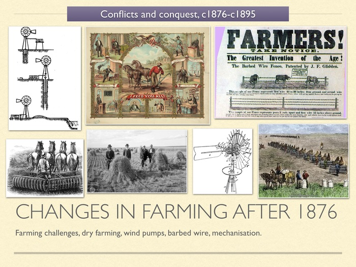 GCSE History of American West in 19c. Unit 3 Changes in Farming after 1873