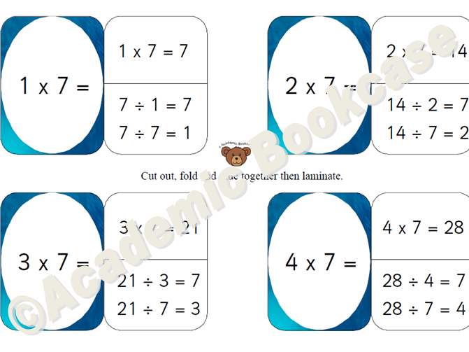 7 times table self check flashcards with inverse on the back