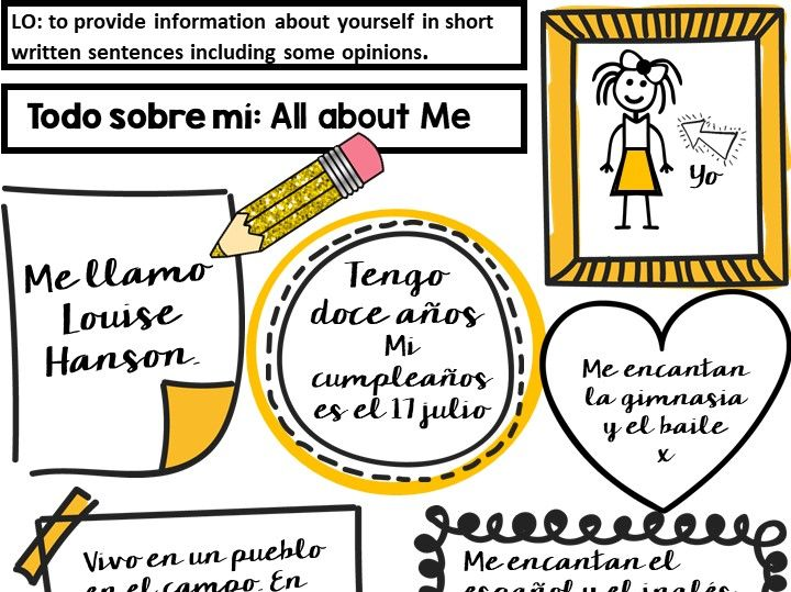 Spanish First lesson back: Todo Sobre Mi sheet