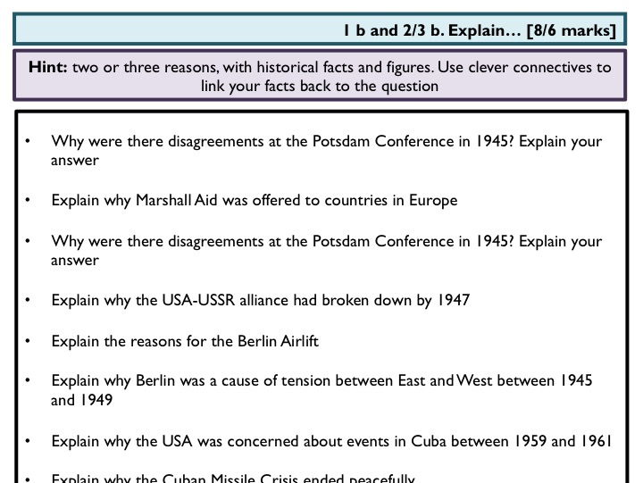 A compilation of OCR GCSE History B Paper 1 (Cold War/USA) questions from the past few years