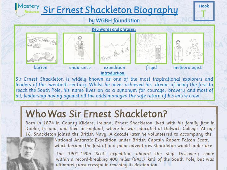 Sir Ernest Shackleton Biography Comprehension Year 5 & 6