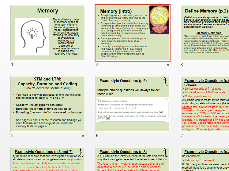 PowerPoints to accompany AQA A Level Psychology Paper 1 Topic Booklets (excluding Research Methods)