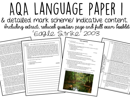 AQA English Language Paper 1 WITH INDICATIVE CONTENT:  'Eagle Strike'