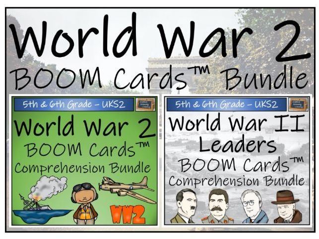 World War 2 Mega Bundle of UKS2 BOOM Cards™ Comprehension Activities