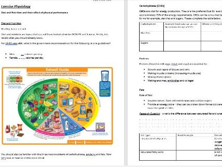 Transition Pack for A Level Physical Education - For year 11 students