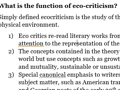An introduction to Eco-Critical theory