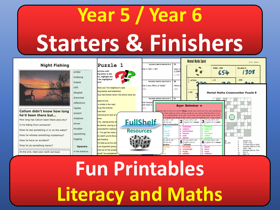 Starters Finishers Literacy / Maths (Year 5 / 6)