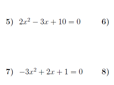 Discriminant of a quadratic equation worksheet (with solutions)