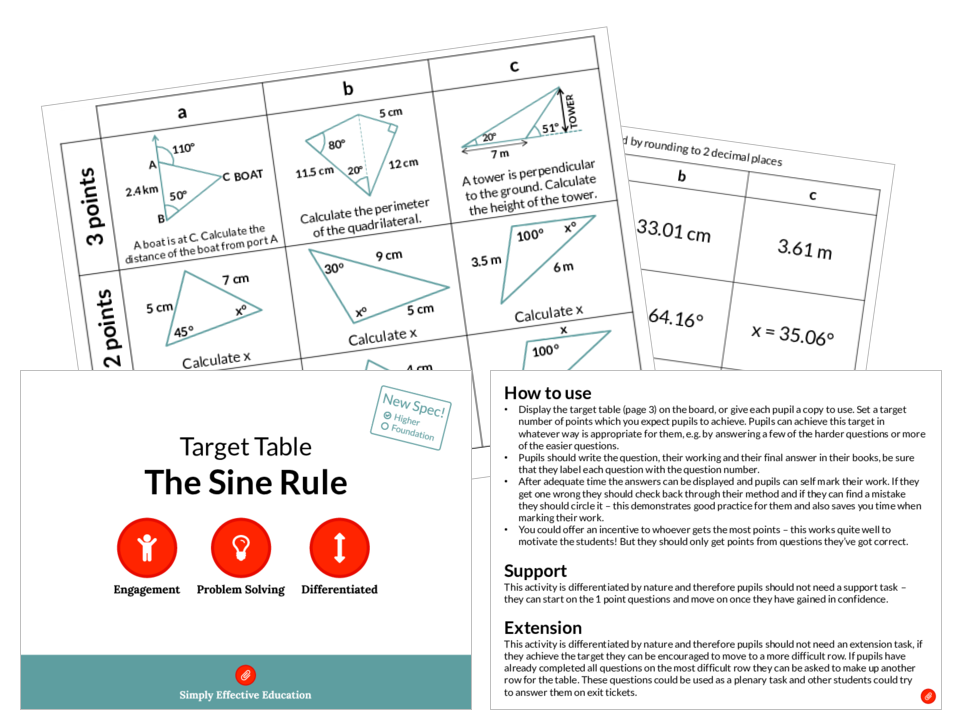 The Sine Rule (Target Table)