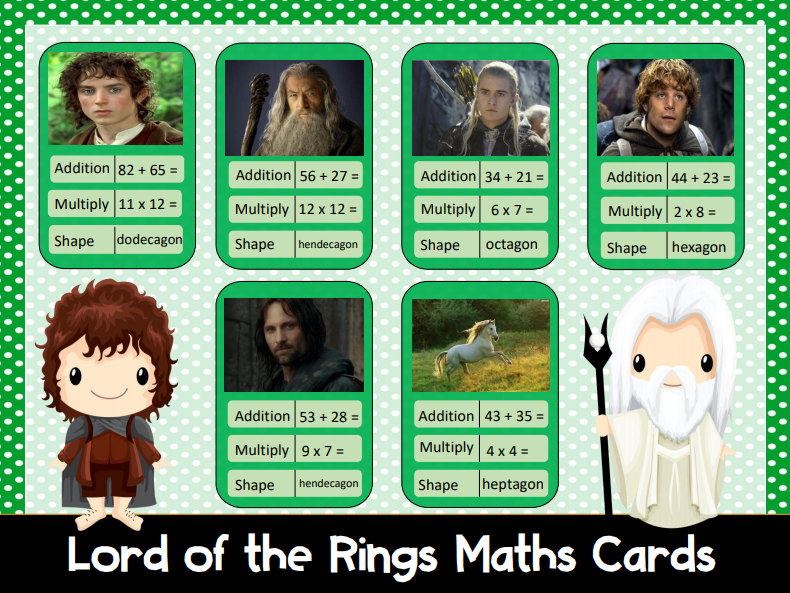 Maths Game Cards: Lord of the Rings
