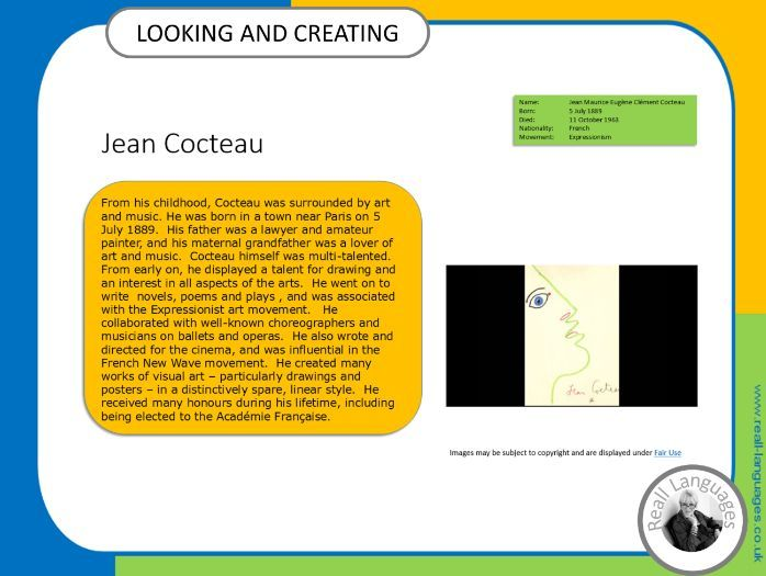 Jean Cocteau.  Looking and Creating: activities inspired by artists