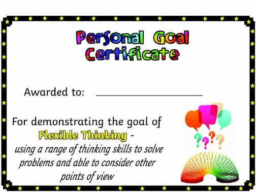Personal Goals (IPC) - Certificates of Achievement