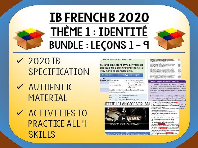 IB FRENCH B 2020 - Identité - 9 lessons pack (2 units)