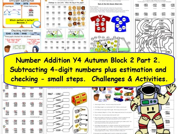 Number Subtraction Y4 Autumn Block 2 Part 2 KS2 Challenges for White Rose Small Steps