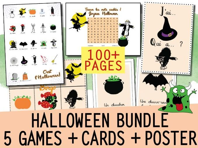 FRENCH HALLOWEEN ACTIVITY BUNDLE: 5 GAMES (Bingo / J'ai Qui a) + WORD WALL + POSTER