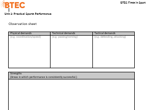 BTEC Sport Level 2 - Observation sheet