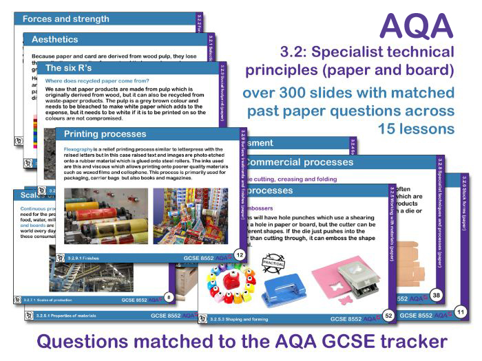 AQA GCSE Design and Technology 3.2: Specialist technical principles (Paper and board)
