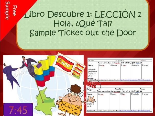 Descubre 1 L1: Hola, ¿Qué tal? Ticket out the door sample