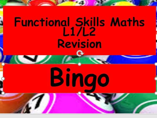 Functional Skills Maths Revision Bingo L1 and L2 with answers
