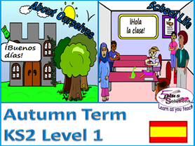 PRIMARY SPANISH AUTUMN TERM (KS2/3): Level 1 (13 lessons +Audio)
