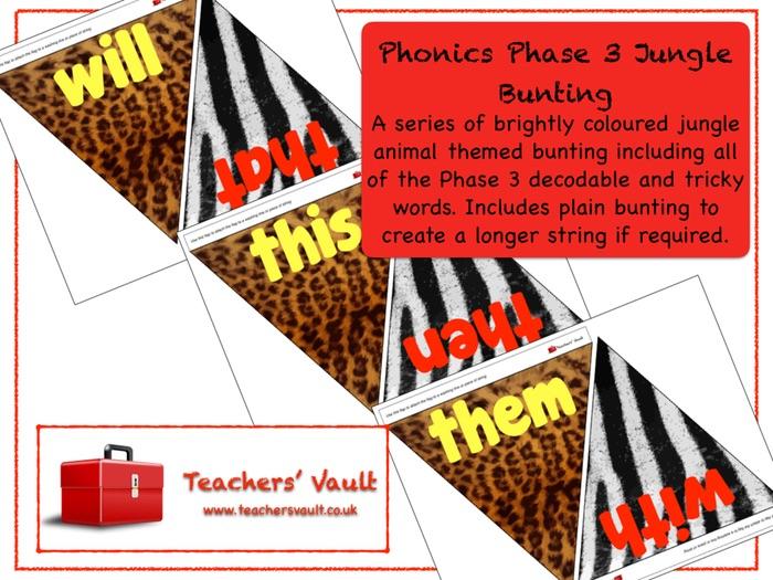 Phonics Phase 3 Jungle Bunting Display