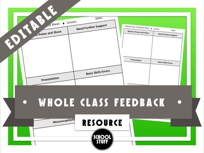Whole Class Feedback Sheet - School Stuff