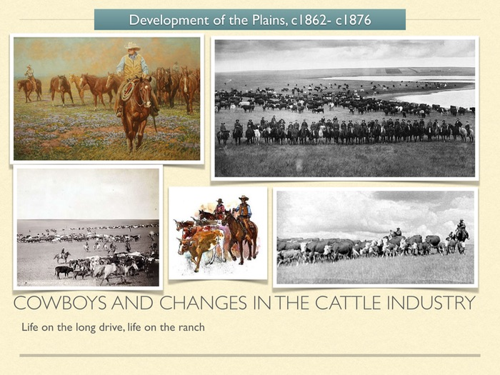 GCSE History of American West in 1800s. Cowboys and changes in the cattle industry