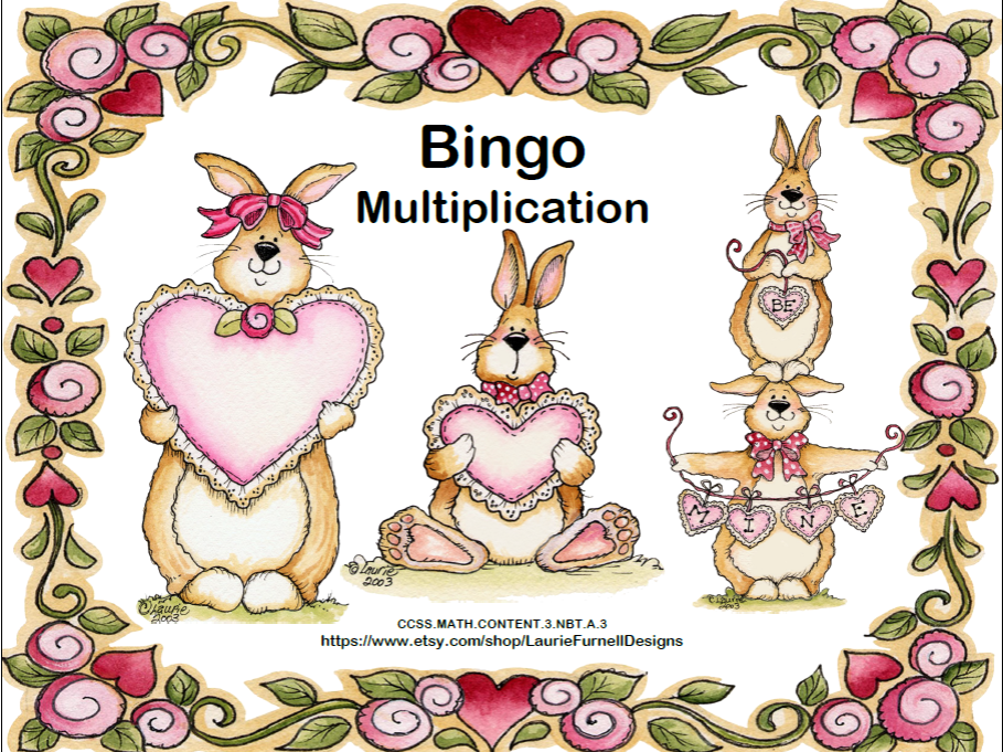 Multiplication Facts- Bingo-Valentine's Day Theme
