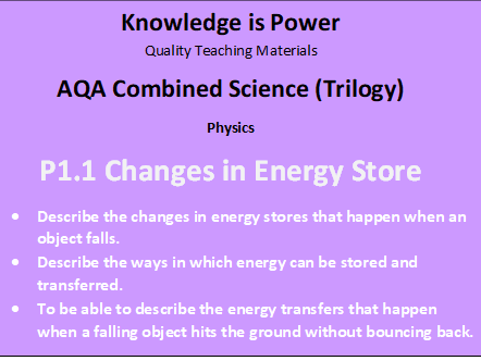 P1.1 Changes in Energy Store