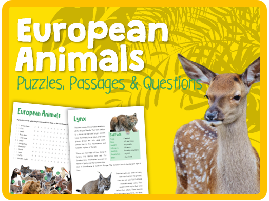European Animals (Puzzles, reading & questions)