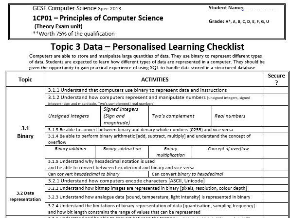 Topic 3 Edexcel GCSE Computer Science Spec 2013 Personalised Checklist