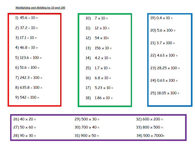 A Worksheet on Multiplying and Dividing   (2)